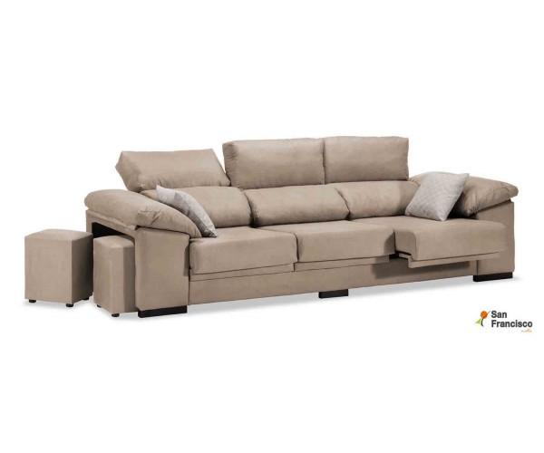 Sofá 3 plazas barato reclinable y extensible 270cm tapizado microfibra beige