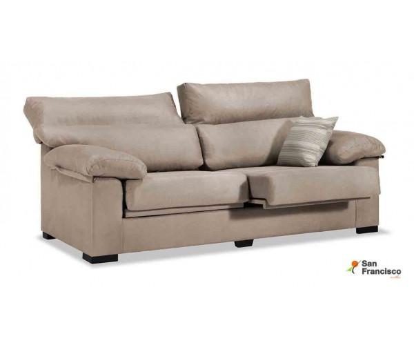 Sofá oferta económico 3 plazas 190cm tapizado Beige. Reclinable, extensible y desenfundable.