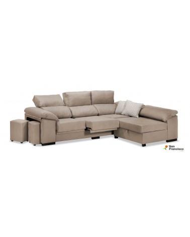 Chaise longue 270cm reclinable extensible económica tapizada en microfibra color Beige.