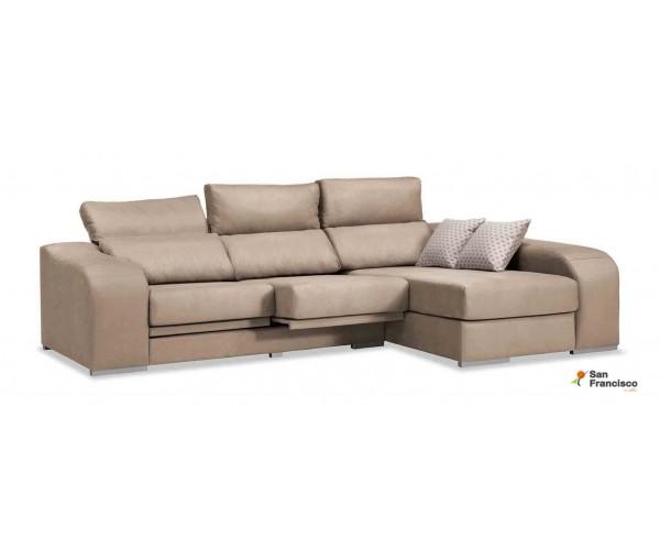 Chaise longue 270 cm reclinable y extensible. Alta comodidad y económica. Tapizada microfibra Beige.