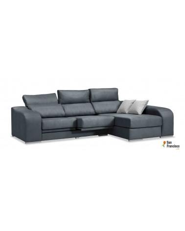 Chaise longue 270 cm reclinable, extensible y desenfundable. Máxima comodidad. Tapizada en microfibra color Gris.