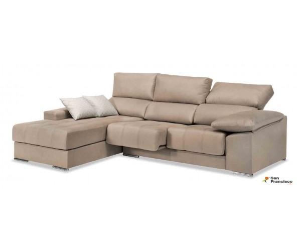 Chaise longue buen precio 240 cm. reclinable, extensible y desenfundable. Tapizada en microfibra lavable color Beige.