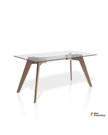 Mesa de cristal y Nogal fija de 160 x 95 cm