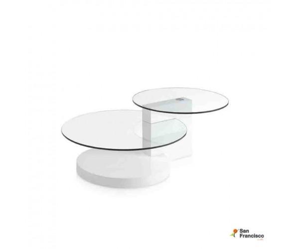 Mesa de centro de cristal y madera lacada Blanca
