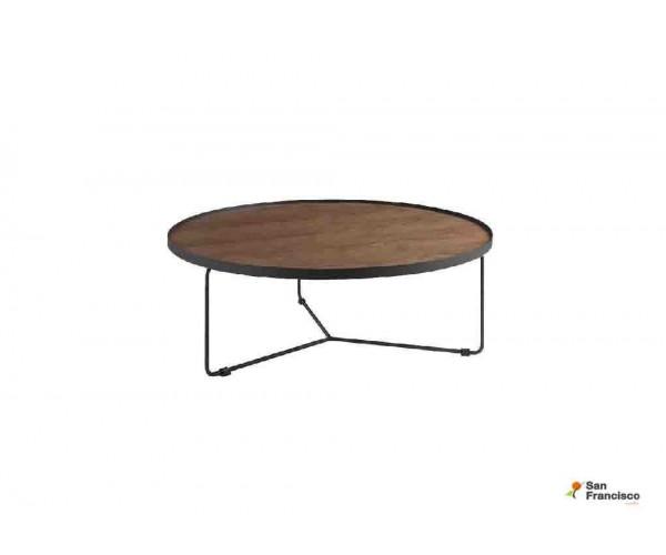 Mesa de centro redonda 90 cm metálica y madera