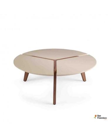 Mesa de centro redonda de 100cm Lacada y madera