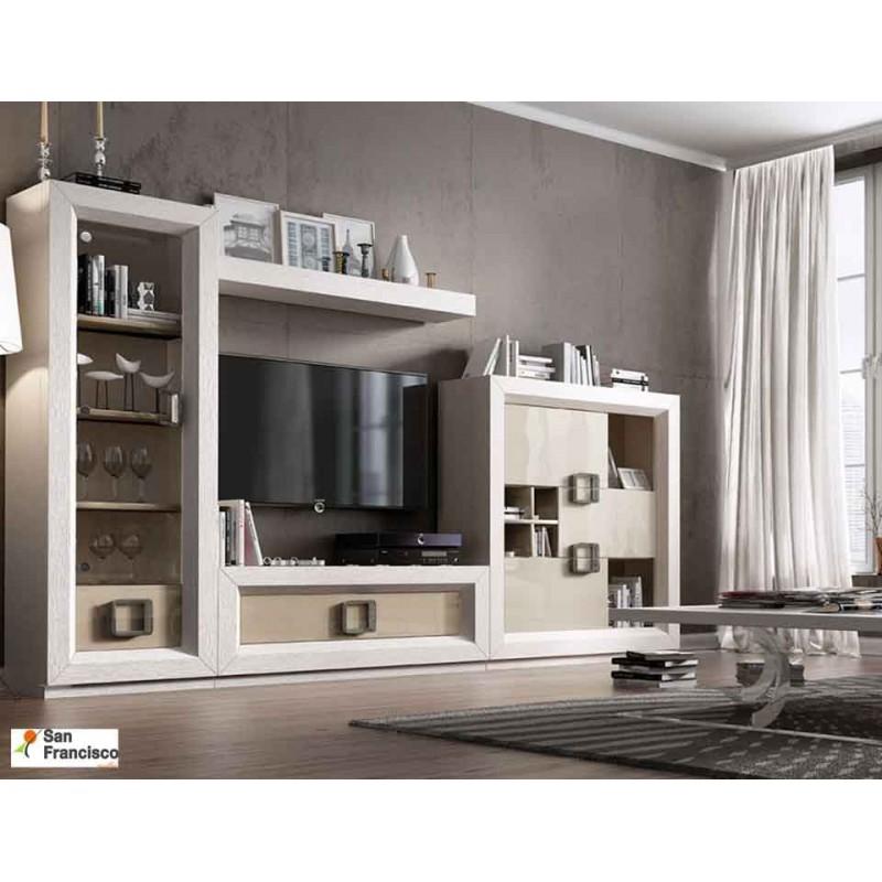 Mueble de Salón de 314,5cm Chapado en Roble y Lacado