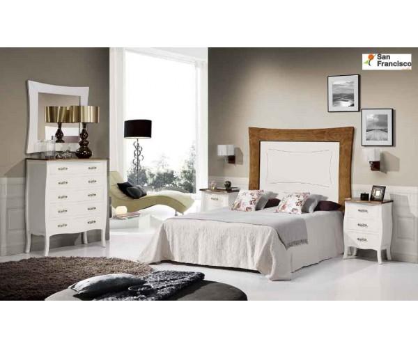 Dormitorio de Matrimonio Blanco y Cerezo de madera maciza