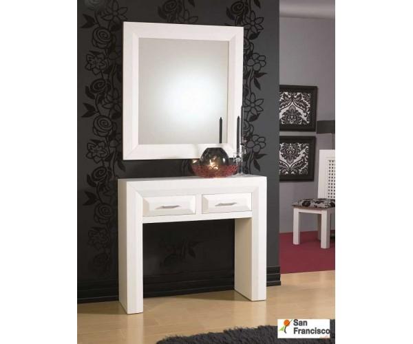 Mueble de Entrada Lacado Blanco Rústico
