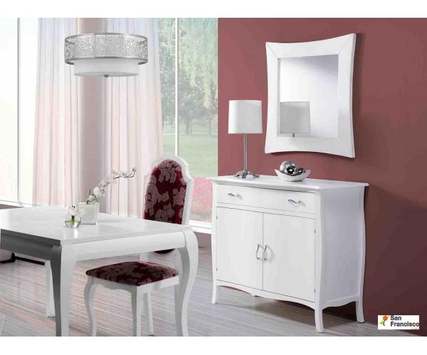 Mueble recibidor clásico de 120cm lacado Blanco