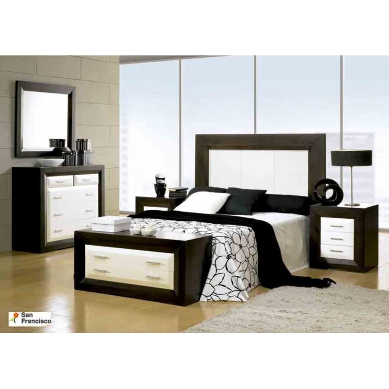 Dormitorio de matrimonio madera maciza Wengue y Blanco