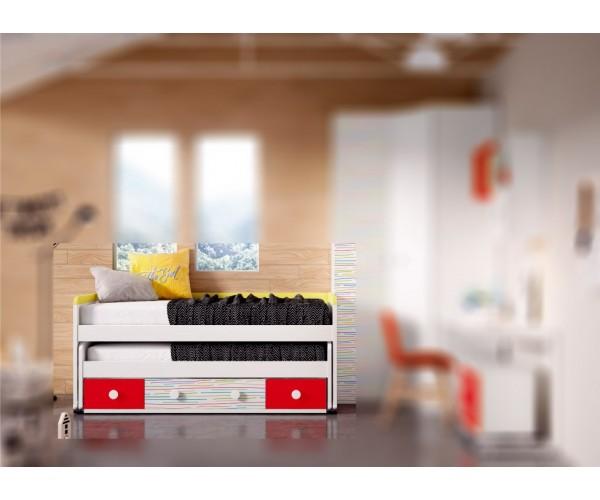 Cama compacta juvenil 2 camas, 1 baúl y 2 contenedores. Alta calidad, Máxima capacidad. Armario, escritorio y estanterías OPCION