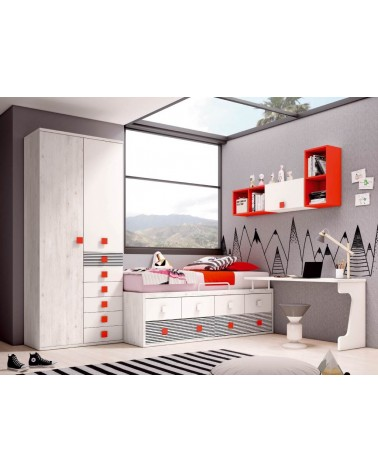 Detalle composición dormitorio juvenil. Consulte precios y posibilidades en el punto de venta.