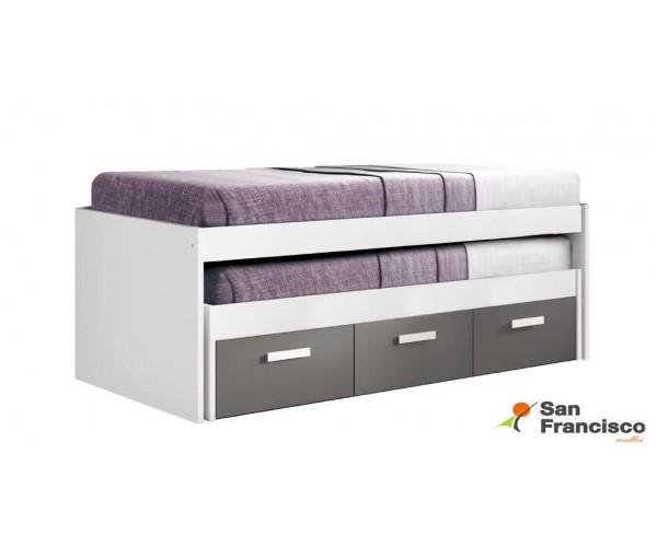 Cama compacta con 2 camas y 3 contenedores