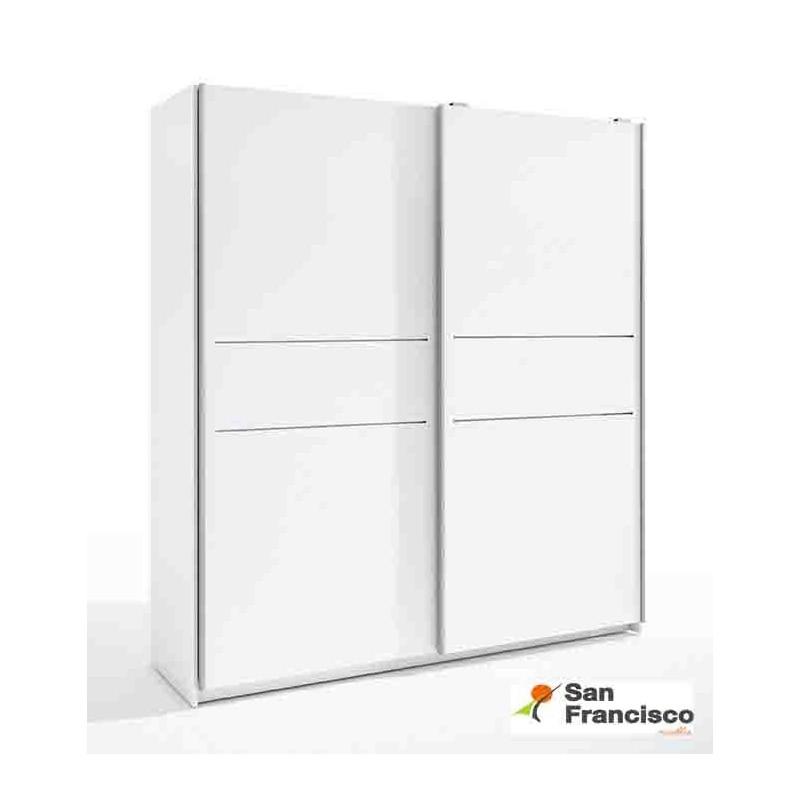 Armario 2 puertas correderas barato acabado color blanco.