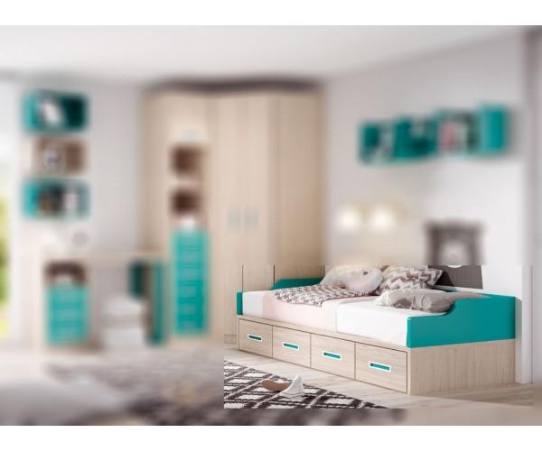 Cama compacta 2 camas 4 contenedores alta calidad acabado Polar color combinado Rojo. Respaldo y reposa-almohadas opcionales.