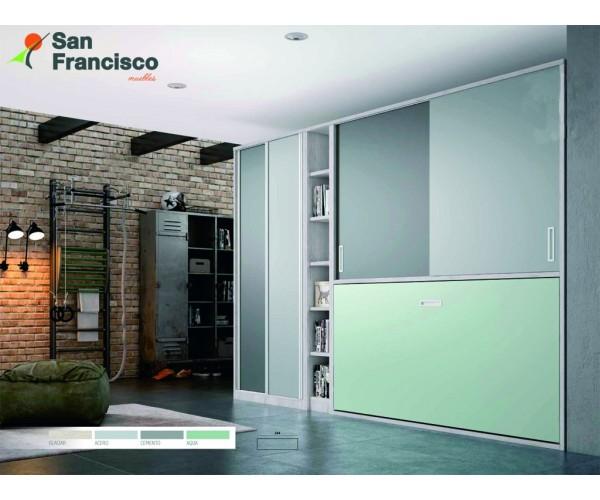 Cama abatible horizontal 90X190cm. Zona superior con armario y estantería. Alta calidad. Máxima capacidad. Precio económico.