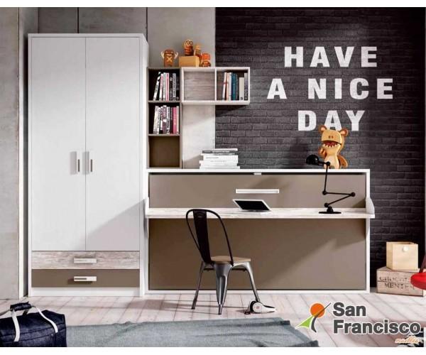 Cama abatible horizontal 90X190cm con escritorio. Alta calidad.