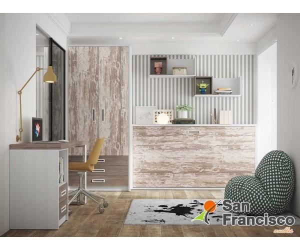 Cama juvenil abatible horizontal 90X190cm. Fondo reducido. Ideal pequeños espacios. Alta calidad. Económica.
