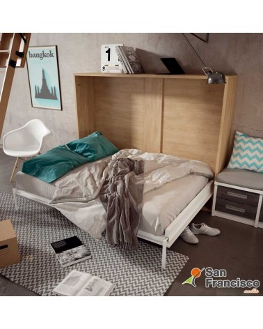 Cama abatible horizontal 135X190cm Alta calidad. Económina. Perfecta para espacios reducidos. DETALLE CAMA ABIERTA.