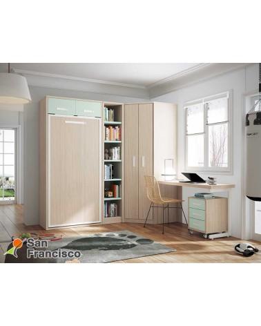 Cama juvenil abatible vertical 90X190cm. Económica. Fondo reducido. Ideal pequeños espacios. Alta calidad. Económica.