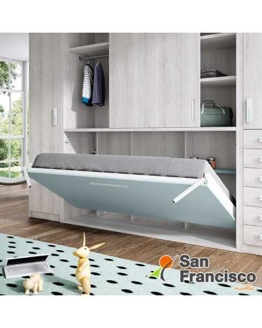 Cama abatible horizontal 90X190cm. con armario y estantería. Alta calidad. Máxima capacidad. Precio económico. DETALLE.