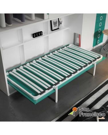 Cama abatible horizontal 90X190cm con armario superior y escritorio. Económica. DETALLE SOMIER Y ESTANTERÍA INTERIOR.