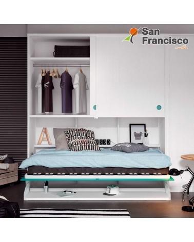 Cama abatible horizontal 90X190cm con armario superior y escritorio. Económica. DETALLE ESCRITORIO ABATIBLE.