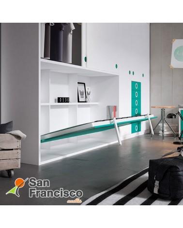 Cama abatible horizontal 90X190cm con armario superior y escritorio. Económica. DETALLE APERTURA.
