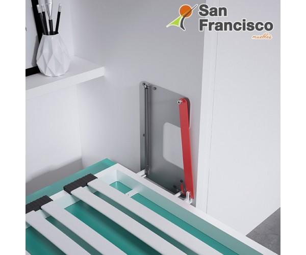 Cama abatible horizontal 90X190cm con armario superior y escritorio. Económica. DETALLE SISTEMA DE SEGURIDAD.