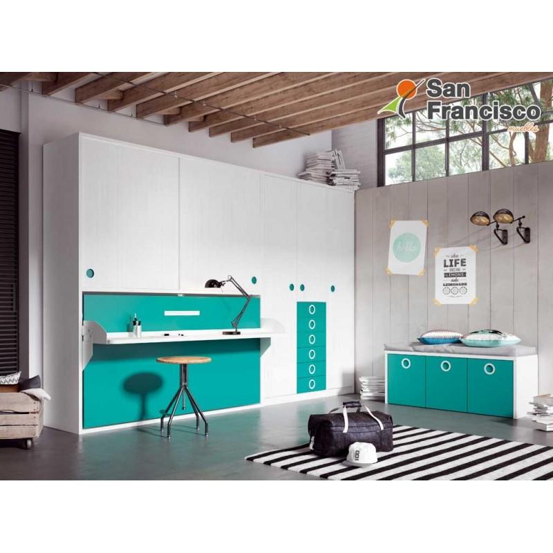 Cama abatible horizontal 90X190cm con armario superior y escritorio. Económica. Máxima capacidad. Alta calidad.