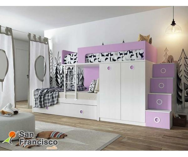 Litera juvenil 3 camas con armario gran fondo. Alta calidad. Económica. Escalera 4 contenedores OPCIONAL. LITERA DERECHA.
