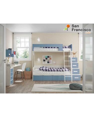 Litera juvenil 2 camas y 4 contenedores. Alta calidad. Económica. Escalera 4 contenedores OPCIONAL.  IZQUIERDA.