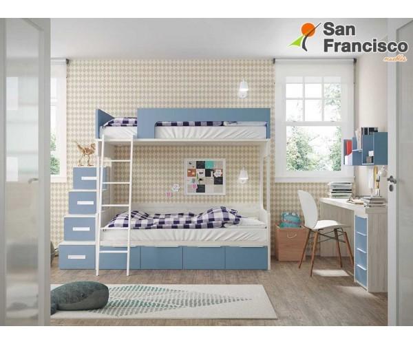 Litera juvenil 2 camas y 4 contenedores. Alta calidad. Económica. Escalera 4 contenedores OPCIONAL.  DERECHA.