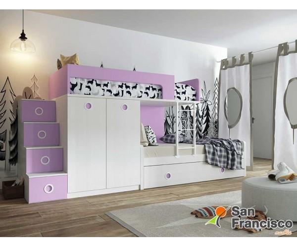 Litera juvenil 3 camas con armario gran fondo. Alta calidad. Económica. Escalera 4 contenedores OPCIONAL. LITERA IZQUIERDA.