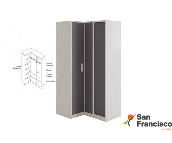 Detalle armario rincón 1 puerta entera 2 puertas correderas OPCIONAL.
