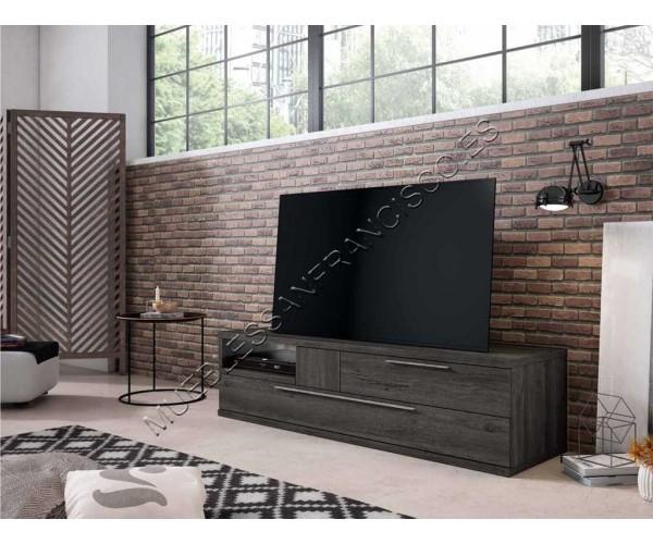 Mueble TV moderno 2 cajones  Azabache