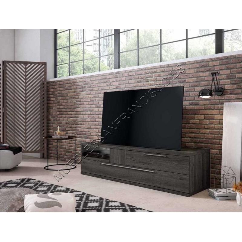 Mueble TV moderno económico con 2 cajones y cubo diáfanano. Varios acabados a elegir. Alta calidad.