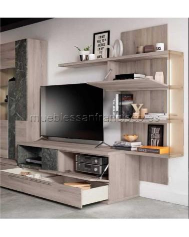 Mueble TV moderno económico con 2 cajones y cubo diáfano. DETALLE PUERTAS Y 2 CAJONES FRENTE COMÚN.