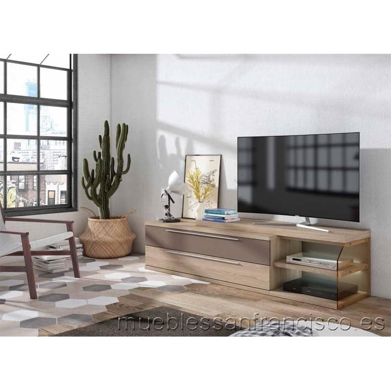 Mueble TV diseño moderno económico 2 cajones dobles y zona diáfana cristal. Iluminación LED incluida.