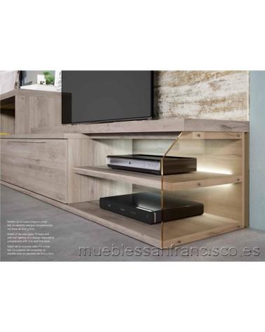 Mueble TV diseño moderno económico 2 cajones dobles y zona diáfana cristal. Iluminación LED incluida. DETALLE.