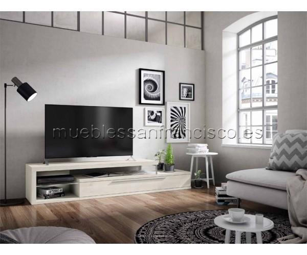Mueble TV diseño moderno económico 1 cajón doble y zona diáfana cristal. Iluminación LED incluida.
