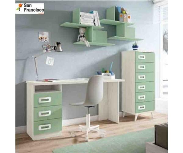 Mesa de estudio 150x50cm  Blanco Nordic y Verde