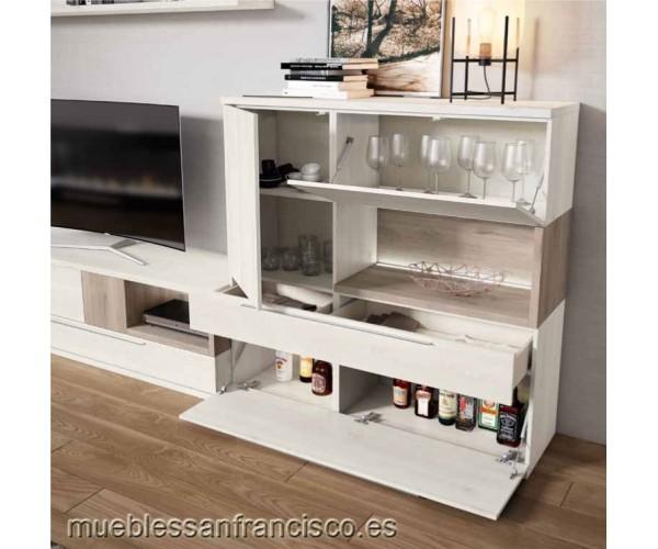 Composición mueble apilable salón diseño moderno 302cm, máxima calidad, alta capacidad. Buen precio. DETALLE APARADOR.