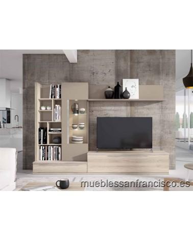 Composición mueble apilable salón diseño moderno 275cm, máxima calidad, alta capacidad. Económico.