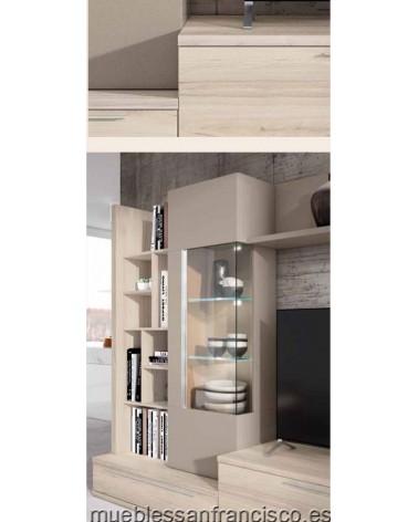 Composición mueble apilable salón diseño moderno 275cm, máxima calidad, alta capacidad. Económico. DETALLE VITRINA.