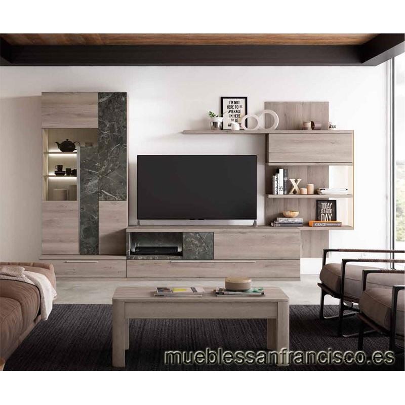 Composición mueble apilable salón diseño moderno 302cm, máxima calidad, alta capacidad. Buen precio.