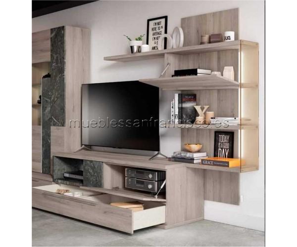 Composición mueble apilable salón diseño moderno 302cm, máxima calidad, alta capacidad. Buen precio. DETALLE.