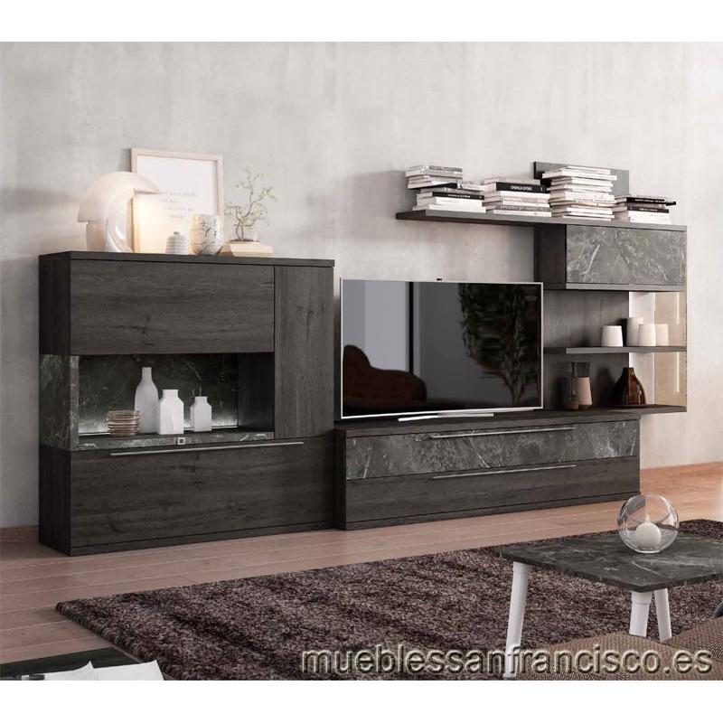 Composición mueble apilable salón diseño moderno 330cm, máxima calidad, alta capacidad. Económico.