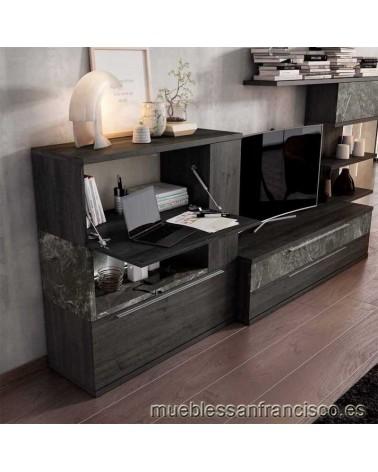 Composición mueble apilable salón diseño moderno 330cm, máxima calidad, alta capacidad. Económico. DETALLE APARADOR.